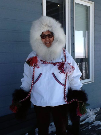 Edna Elias models the new parka she'll wear on this year's walk. (PHOTO COURTESY OF WOMEN IN ACTION)