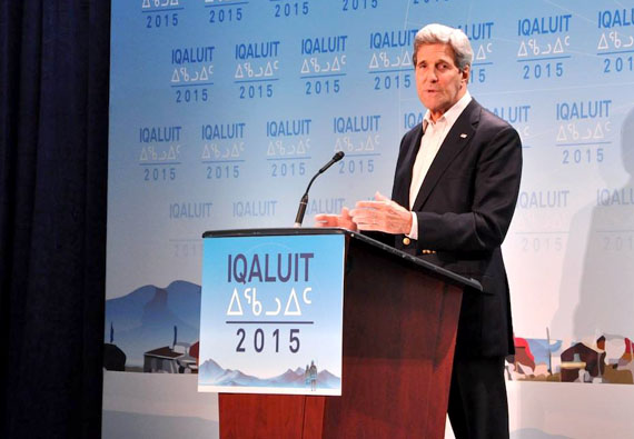 U.S. Secretary of State John Kerry at an April 24 news conference at the cadet hall after the end of the Arctic Council ministerial meeting in Iqaluit. (PHOTO BY THOMAS ROHNER)