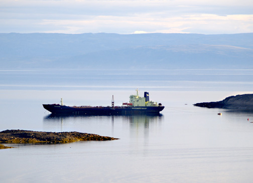 The tanker ship Tuvaq takes on a load of fuel in Iqaluit in September 2010. The Tuvaq left for Nunavut's Kitikmeot region where it ran aground 30 kilometres from Gjoa Haven. (PHOTO BY CHRIS WINDEYER