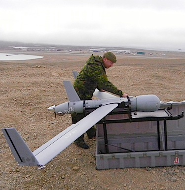 Drones, like this one undergoing testing near Resolute Bay in 2011, could be part of Canada's future Arctic defence support. (PHOTO BY JANE GEORGE)