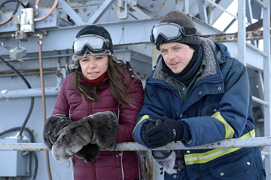 Actors Tatiana Maslany and Dane DeHaan on set in Iqaluit during filming of