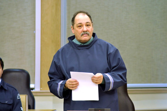Tununiq MLA Joe Enook grilled the housing minister, George Kuksuk, on opening day of the legislature May 26, on why some staff housing in Pond Inlet are left empty for years while his constituents suffer in overcrowded housing. (FILE PHOTO)