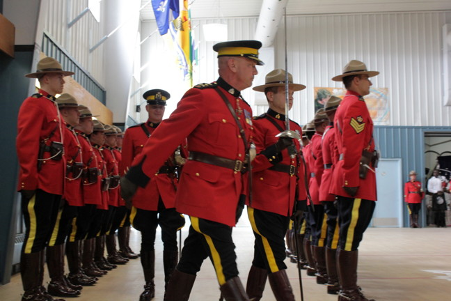The head of the RCMP in Canada, Commissioner Bob Paulson, inspects members of the Iqaluit detachment during the May 28 installment of Mike Jeffrey as Nunavut
