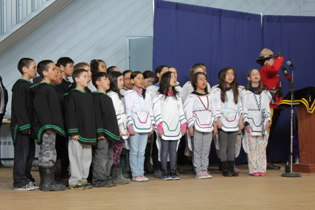 The choir from Joamie Ilinniarvik School in Iqaluit sang a trilingual
