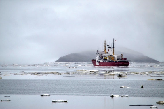 The CCGS Pierre Radisson, pictured here when it first came into Iqaluit in early July of 2014, can't get into Iqaluit right now because of condensed ice conditions in Frobisher Bay. (PHOTO BY DAVID MURPHY)