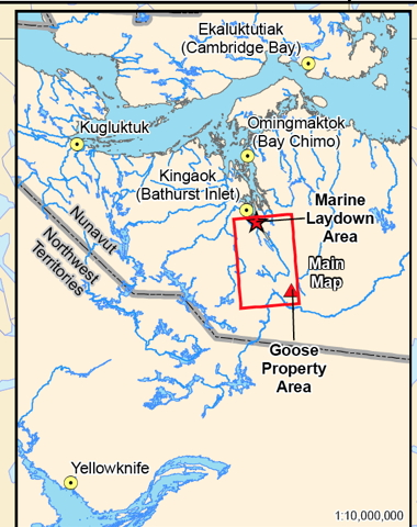 A Kitikmeot map showing the location of Sabina's Goose property, part of the Back River gold mine, which would cover an area of about 53 square kilometres. (MAP COURTESY OF SABINA)