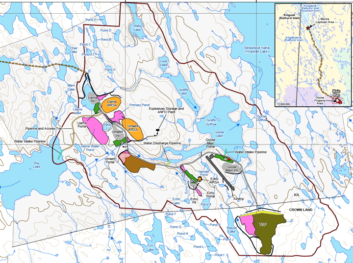 A map showing the proposed site layout of Sabina's Back River mine, south of Cambridge Bay. (COURTESY OF SABINA)
