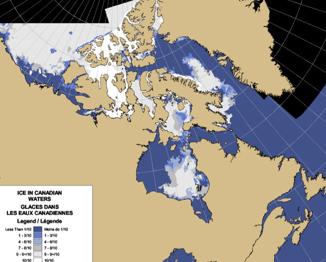This recent Canadian Ice Service image shows sea ice thickness in Hudson Bay and other Arctic waters. The lighter the shade (bright white), the thicker the ice. (IMAGE COURTESY CANADIAN ICE SERVICE)