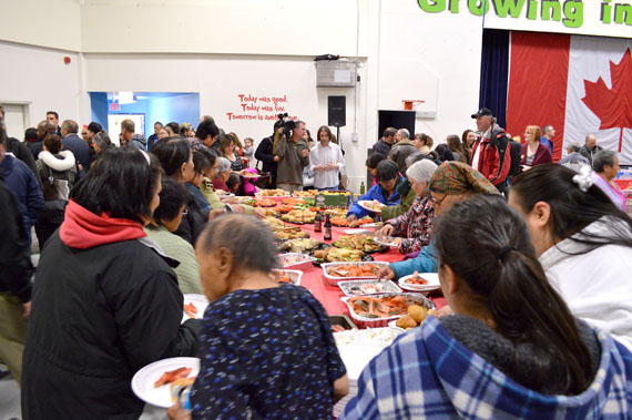 About 200 Iqaluit resident at a community feast held Sept. 29 by the New Democratic Party's campaign in Nunavut. (PHOTO BY STEVE DUCHARME)