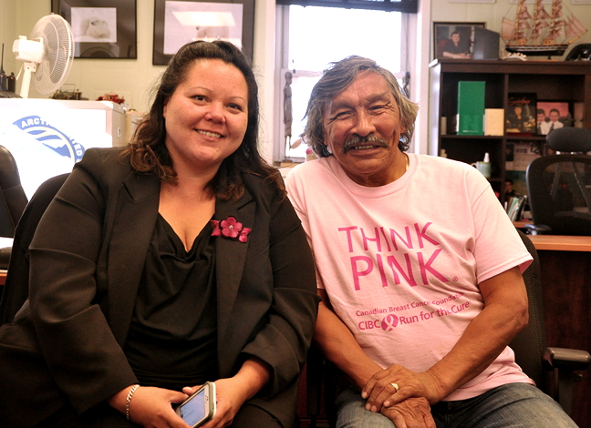 Nunavut NDP hopeful Jack Anawak with his campaign manager, Heather Coman. (PHOTO BY THOMAS ROHNER)