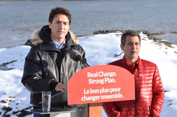 Liberal leader Justin Trudeau speaks Oct. 10 alongside Liberal candidate Hunter Tootoo at an event held in Rotary Park in the Iqaluit suburb of Apex. (PHOTO BY STEVE DUCHARME)