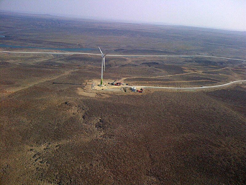 This 80-metre wind turbine near Glencore's Raglan nickel mine in Nunavik is a rare example of alternative energy use north of the treeline. The three megawatt wind project supplies about five per cent of the Raglan mine's energy needs. The Quebec-California cap-and-trade market for GHG emissions provided an incentive for the project, which could be expanded to nine megawatts if it proves to be successful. (FILE PHOTO)