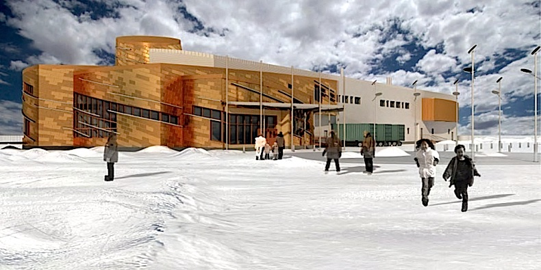 An artist's rendition of the Canadian High Arctic Research Station, designed by the Montreal-based architectural company Fournier, Gersovitz, Moss, Drolet et associés, which has designed air terminals in Iqaluit, Kuujjuaq and Puvirnituq, Nunavik child care centres, as well the community science centre in Kuujjuaraapik. (HANDOUT IMAGE)