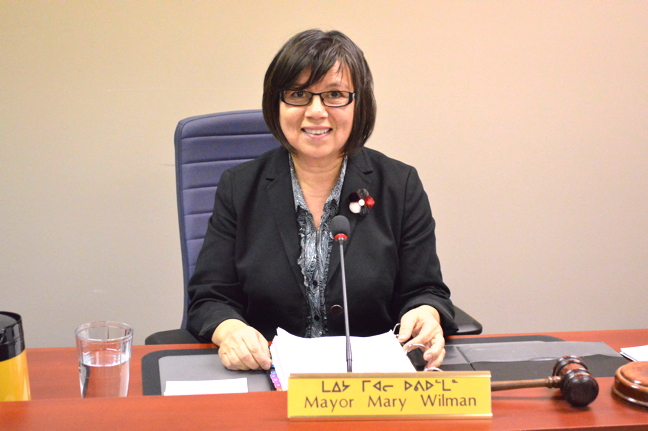 Iqaluit's outgoing mayor Mary Wilman bid a fond farewell to Iqalungmiut at her last city council meeting Oct. 27. (PHOTO BY STEVE DUCHARME)