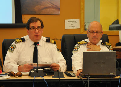 KRPF deputy chief Pierre Bettez, left, and chief Michel Martin address KRG council Nov. 26. (PHOTO BY SARAH ROGERS)