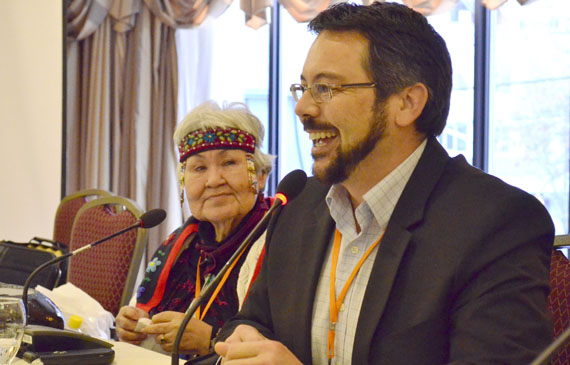 "Jason LeBlanc, the executive director of Inuit Tungasuvvingat, at the close of last week's meeting in Ottawa of urban Inuit from across Canada. ""There's a lot of hope. There's a lot of excitement. There's a lot of opportunity,"" he said. (PHOTO BY JIM BELL)"