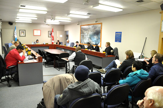 Iqaluit City Council gave first and second reading Nov. 24 to five bylaws aimed at fixing the city's financial position. (PHOTO BY THOMAS ROHNER)