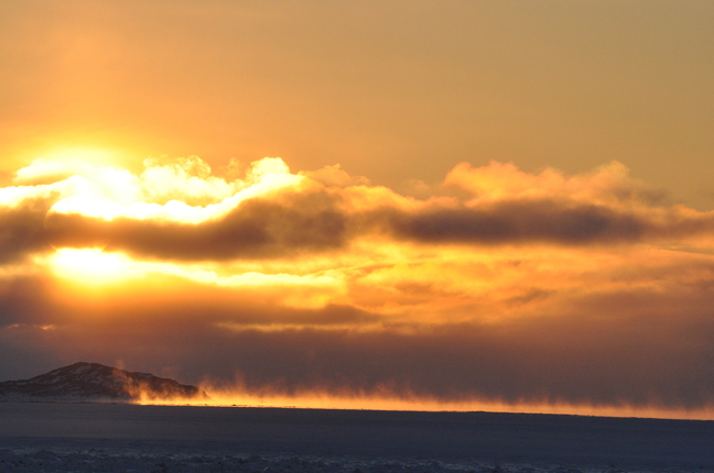 We featured a photo of an afternoon Arctic sunset in Iqaluit last week so we thought we'd follow up with a shot of the sun's rise over Frobisher Bay Nov. 27. With the shortest day of the year fast approaching, Iqaluit is rapidly bleeding daylight at a rate of five minutes a day. Sunrise in Iqaluit is around 8:35 a.m. and sunset is around 2:30 p.m. now, but not for long. Further north in Nunavut, the sun has all but disappeared until 2016. (PHOTO BY THOMAS ROHNER)
