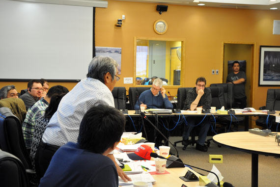 KRG councillor Sarollie Weetaluktuk, left, shares his concerns about social housing to KMHB chair Watson Fournier and KRG's municipal and public works director Frédéric Gagné during meetings in Kuujjuaq Nov. 26. (PHOTO BY SARAH ROGERS)