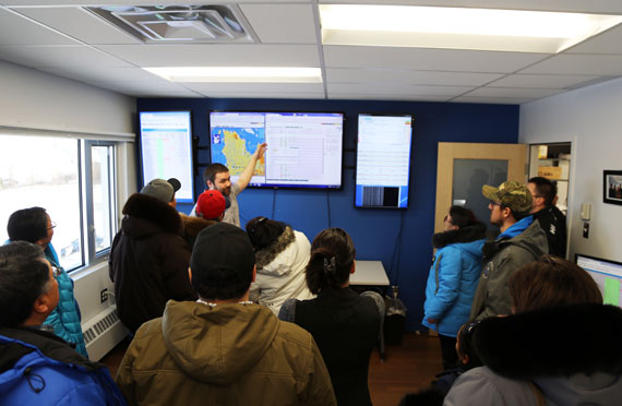 KRG councillors and executive members tour Tamaani's headquarters in Kuujjuaq Nov. 25. The KRG-run provider will soon partner with satellite operator SES to upgrade its network from current speeds of 1.5 megabits per second. (PHOTO COURTESY OF KRG)