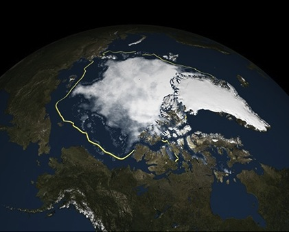 Here's a map of Arctic sea ice on Sept. 11, 2015, the date it reached its fourth-lowest extent in the satellite record. (IMAGE COURTESY OF NOAA)