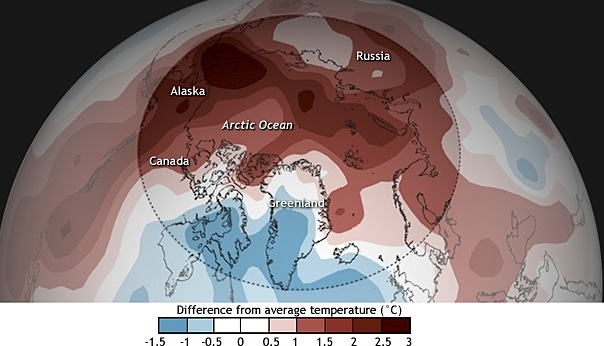 Cool in most of Canada's Arctic but the heat was on elsewhere in the circumpolar world: October 2014 to September 2015 average air temperatures across the Arctic compared to the 1981-2010 average and history of Arctic temperatures compared to the global average. (IMAGE COURTESY OF NOAA)