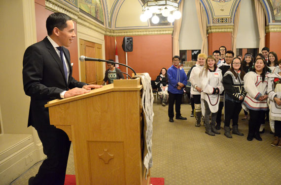 ITK President Natan Obed shares a smile with Nunavut Sivuniksavut students at an event in Ottawa last week. (FILE PHOTO)