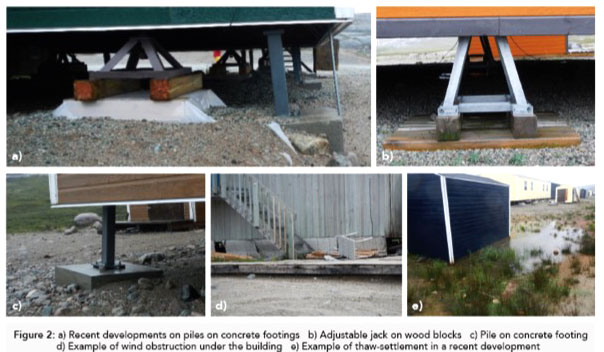 This slide shows techniques that have been used recently in Inukjuak to stabilize buildings that are shifting due to melting permafrost. (COURTESY CATHERINE CLAVEAU FORTIN)