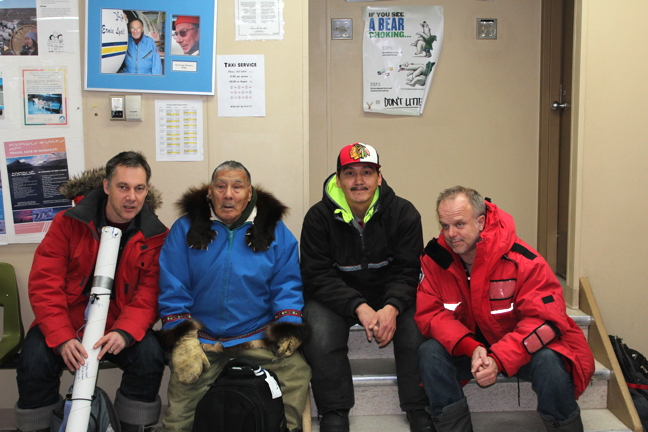 Stephan Schott, left, in Gjoa Haven in November with some members of the Gjoa Haven Hunters and Trappers Organization, just before heading to Taloyoak to meet with the HTO there to talk about a new local fishery study. From left: Schott, Jimmy Qirqqut, Kenneth Puqiqnak and Peter Van Coeverden de Groot. (PHOTO COURTESY STEPHAN SCHOTT)