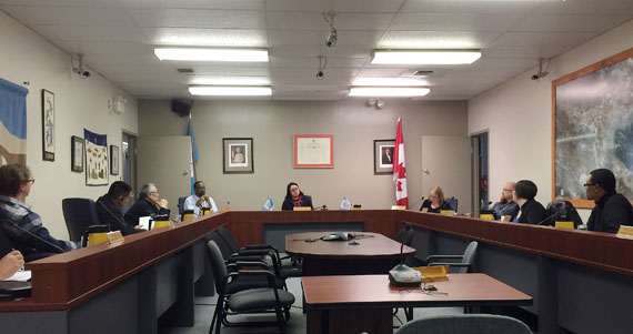 Iqaluit City Council, meeting on the evening of Feb. 23. Councillors voted to increase water and garbage pick-up rates, though residential water customers will be protected from the full force of the water rate increases by a subsidy. (PHOTO BY STEVE DUCHARME)