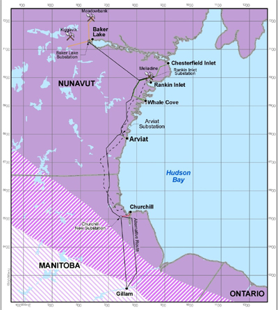 This map shows the proposed route for a future Manitoba-Nunavut hydroelectric transmission link. (IMAGE COURTESY OF BBA)