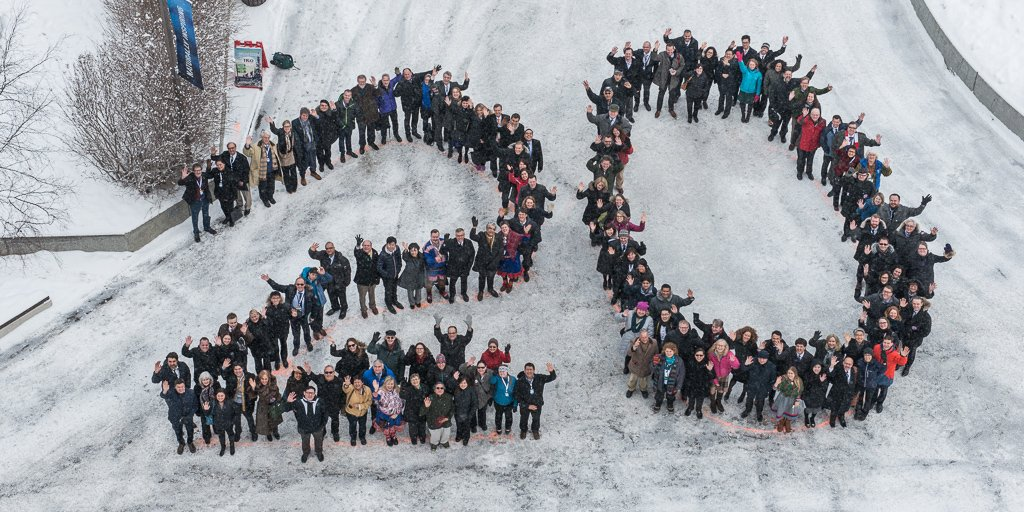 Participants in this past week's Arctic Council meeting in Fairbanks, Alaska, form the numeral