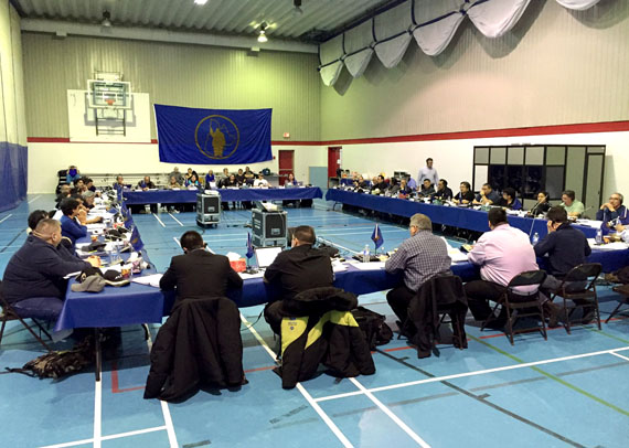 Makivik Corp. delegates and representatives from Nunavik's regional organizations met as part of the Inuit birthright's annual general meeting in Kuujjuaraapik earlier this month, where groups committed to work together on a regional suicide prevention strategy. (PHOTO COURTESY OF MAKIVIK)