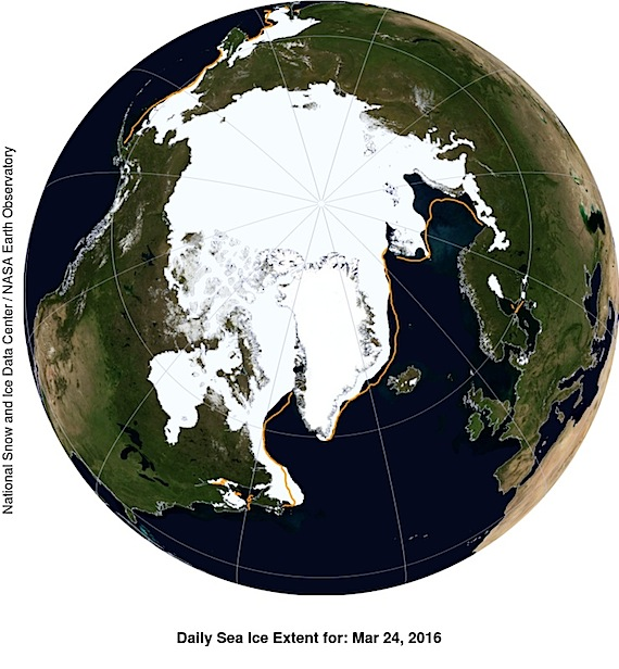 This NASA Blue Marble image shows Arctic sea ice extent on March 24, which averaged 14.52 million square kilometres on March 24, beating last year's record low of 14.54 million square km on February 25. (IMAGE COURTESY OF NSIDC/ NASA)