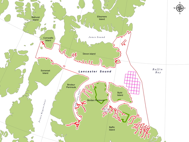 A map of the Qikiqtani Inuit Association's preferred boundary for the Lancaster Sound marine conservation area showing Shell's oil leases in cross-hatched pink. (MAP COURTESY QIA)