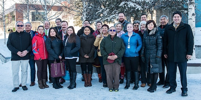 Senior Arctic Officials from the eight Arctic Council member States, and the six Permanent Participant organizations representing indigenous peoples of the Arctic pose in Fairbanks, Alaska where they met March 15 to 17, (PHOTO COURTESY OF THE ARCTIC COUNCIL)