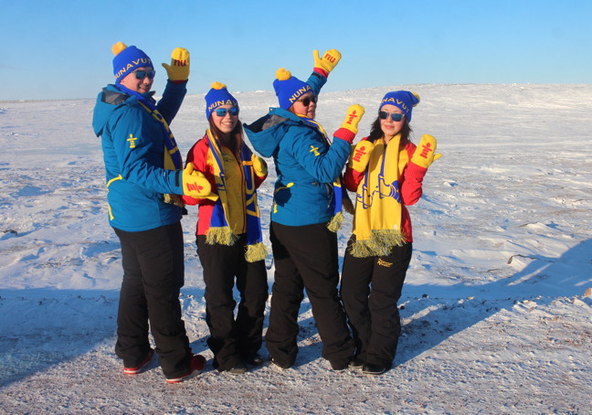 Team Nunavut athletes show off their new Arctic Winter Games jackets for 2016. From left, Jarrett Seeteenak (basketball), Megan Hachey (basketball), Taylor Lee Sweetland (badminton), and Dawn Himga (basketball). (PHOTO COURTESY GN)