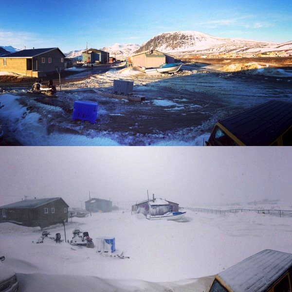 From one extreme to the other: Here, in this photo collage by Daniel Kuluguqtuq, you can see the community of Pangnirtung April 26 on the top, under sunny, record-breaking warm skies, while you can see the same view April 21 on the bottom.