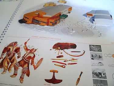 Copper-colours, the history of the Copper Inuit and the qaggiq shape are reflected in the design of CHARS, as this page from a recently-discussed document on art integration in the building shows. (PHOTO BY JANE GEORGE)