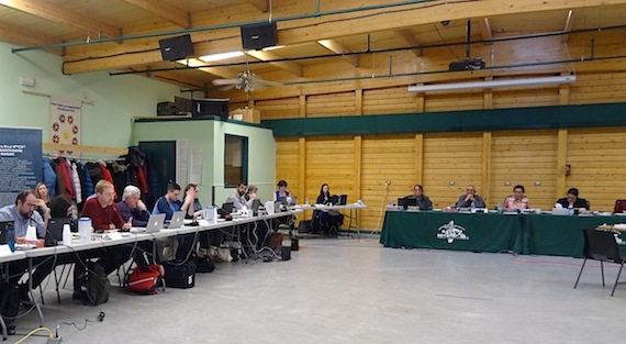Would Sabina's Back River gold mine be ready to close down completely if caribou came on the mine site? That's what Stephen Atkinson, a Government of Nunavut consultant, asked the company April 26 at the Nunavut Impact Review Board hearing in Cambridge Bay. (PHOTO BY JANE GEORGE)