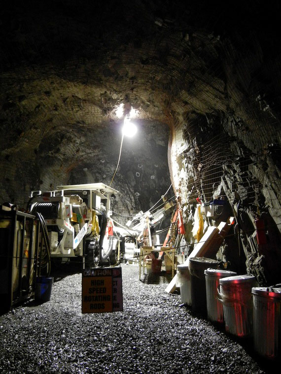 A view into the underground mine at Doris North in 2013, where its current owner, TMAC Resources Inc., wants to enlarge the mine and its operations. (PHOTO BY JANE GEORGE)
