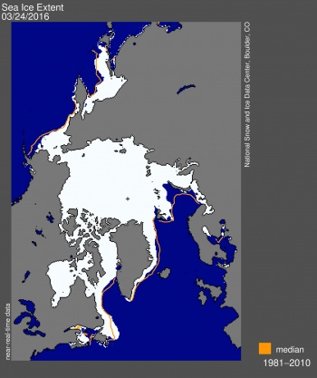 Here's how much more ice a satellite image showed in late March when the Arctic sea ice extent was at its height. (FILE IMAGE)