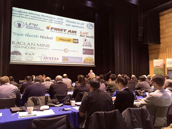Makivik President Jobie Tukkiapik gives opening remarks April 26 on the first day of the 2016 Kuujjuaq Mining Workshop, which runs until April 28. Makivik's core message this year is that Nunavik is open for business — but on their terms. (PHOTO COURTESY OF ADAMIE DELISLE ALAKU)