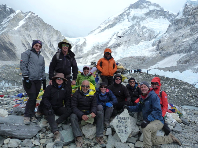 Elena Kataluk, far left in Montreal Habs tuque and gray jacket, at Everest Base Camp. (PHOTO COURTESY ELENA KATALUK)