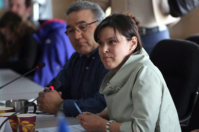 Kativik Regional Government chair Jennifer Munick and Makivik Corp. president Jobie Tukkiapik, left, at a Senate committee meeting in Kuujjuaq this past April. Nunavik's regional leaders are reassuring Nunavimmiut that they're working in tandem to address the issue of suicide in the region. (PHOTO COURTESY OF MAKIVIK CORP)