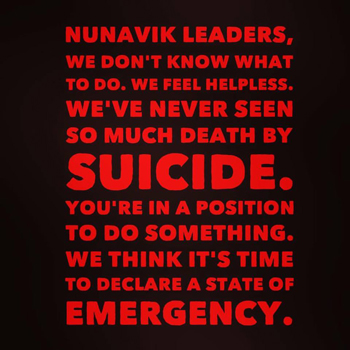 Nunavik singer/songwriter Beatrice Deer posted this message to social media May 13, encouraging the region's leaders to declare a state of emergency to respond to a number of recent suicides in Nunavik.