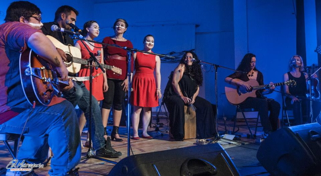 A group of Alianait performers share the stage at Alianait 2014 including Josh Qaumariaq, Jaaji, Laura Churchill, Laakkuluk Williamson Bathory, Rachel Michael and Pacific Curls. This year's festival runs from June 29 to July 3. (FILE PHOTO)