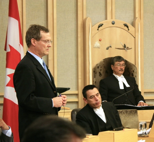Justice Minister Keith Peterson rose in the Nunavut legislature June 8 to announce upcoming community consultations for a new Nunavut Corrections Act. But his staff could offer few details this week of when they will happen and what they want to consult on. (FILE PHOTO)
