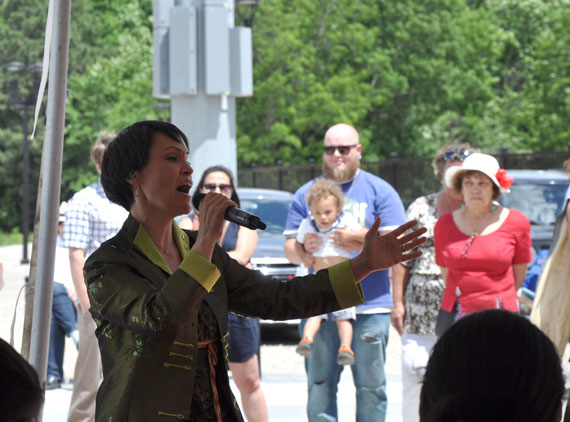 Arviat-raised singer Susan Aglukark sings her hit song O Siem for a crowd at York University June 21. (PHOTO BY SARAH ROGERS)