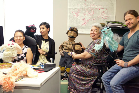 Staff who work on the Inuit Broadcasting Corporation's Takuginai web-based children's series take part in a recent puppet-making workshop. Takuginai, which means Look Here, was first produced and broadcast to a northern audience in the spring of 1987. The show's producers say audiences can expect to see new characters on Takunginai's next season at Isuma.ca. (PHOTO COURTESY OF IBC)